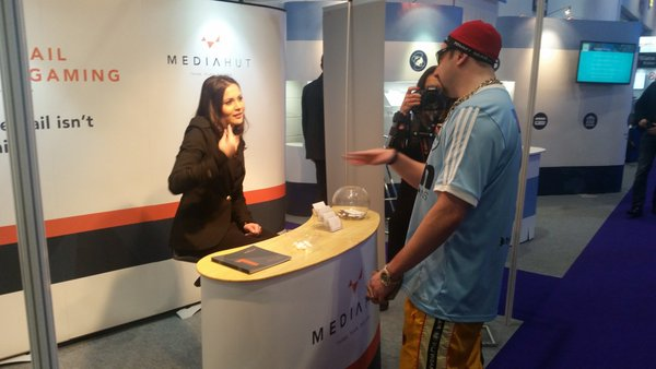 Ali G at the Media Hut stand at ICE 2016